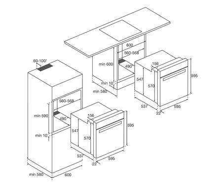 Dessin technique Four multifonction catalyse <br> 429 € PPI HT* - AFC106BK - Airlux