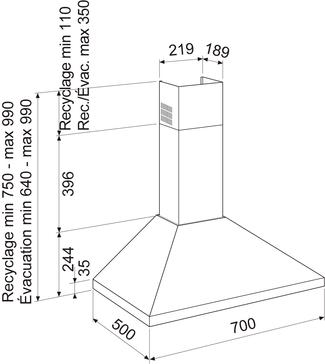 Dessin technique Hotte pyramide 70 cm <br> 260 € PPI HT* - AHP775IX - Airlux