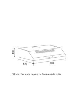 Dessin technique Hotte casquette 60 cm <br> 150 € PPI HT* - AHC640WH - Airlux