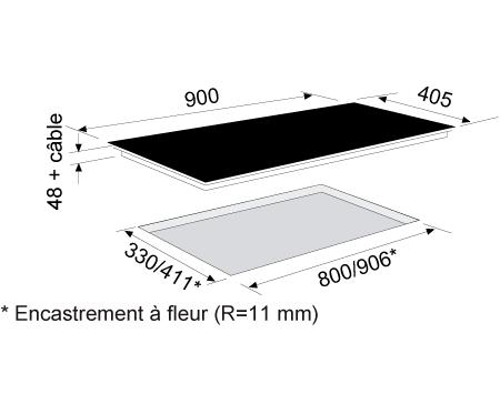 Dessin technique Table induction panoramique 90 cm <br> 1083 € PPI HT* - ATIF930BK - Airlux