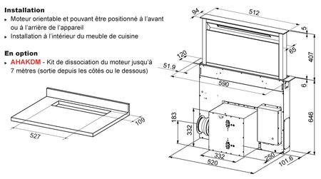Dessin technique Hotte plan de travail télescopique 60 cm <br> 1599 € PPI HT* - AHV659BK - Airlux
