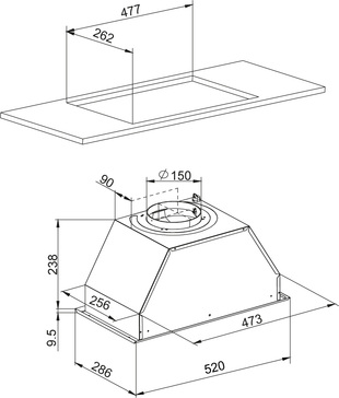 Dessin technique Groupe filtrant 52 cm <br> 249 € PPI HT* - AHF571WH - Airlux