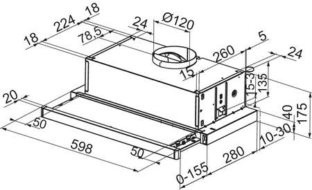 Dessin technique Hotte tiroir 60 cm <br> 250 € PPI HT* - AHT630IX - Airlux