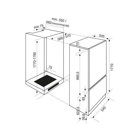 Dessin technique Combiné niche 177 cm <br> 649 € PPI HT* - ARI301CA - Airlux