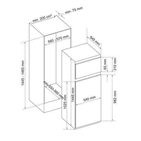 Dessin technique 2 portes niche 145 cm <br> 529 € PPI HT* - ARI145 - Airlux