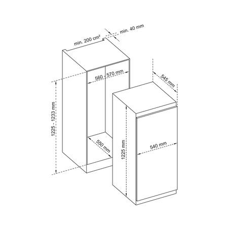 Dessin technique 1 porte niche 122,5 cm <br> 499 € PPI HT* - ARI122 - Airlux