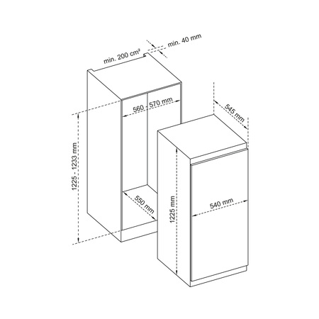 Dessin technique 1 porte tout utile niche 122,5 cm <br> 499 € PPI HT* - ARITU122 - Airlux