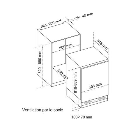 Dessin technique Sous plan niche 82 cm <br> 529 € PPI HT* - ART82 - Airlux