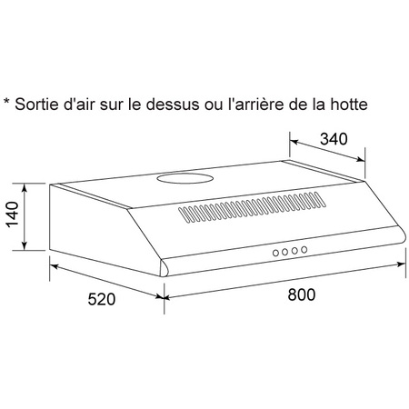 Dessin technique Hotte casquette 80 cm <br> 209 € PPI HT* - AHC840IX - Airlux