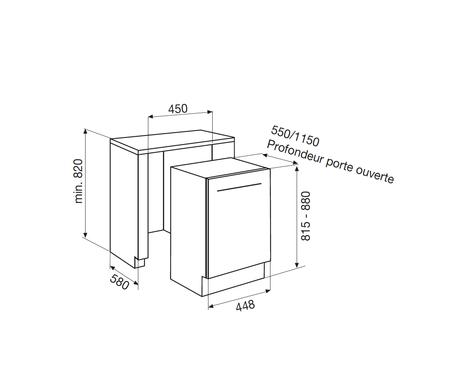 Dessin technique Lave-vaisselle tout intégrable 45 cm <br> 583 € PPI HT* - ADI405 - Airlux