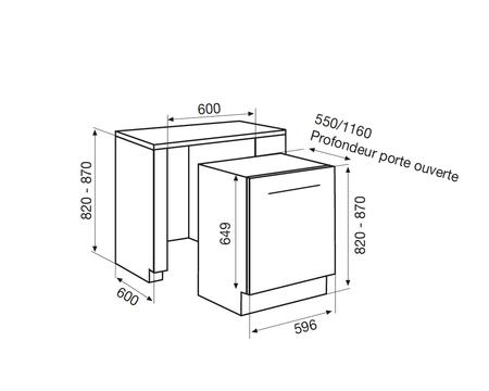 Dessin technique Lave-vaisselle tout intégrable 60 cm <br> 550 € PPI HT* - ADI422 - Airlux