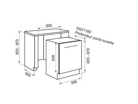 Dessin technique Lave-vaisselle tout intégrable 60 cm <br> 608 € PPI HT* - ADI925 - Airlux