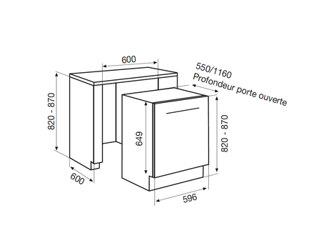 Dessin technique Lave-vaisselle tout intégrable 60 cm <br> 700 € PPI HT* - ADI955T - Airlux