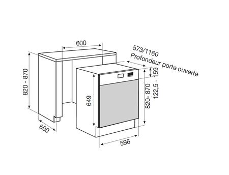 Dessin technique Lave-vaisselle semi-intégrable 60 cm <br> 650 € PPI HT* - ADS9250IX - Airlux