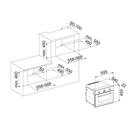 Dessin technique Four compact multifonction émail lisse <br> 833 € PPI HT* - AFCM96BK - Airlux