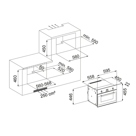 Dessin technique Four compact vapeur <br> 1000 € PPI HT* - AFCS16BK - Airlux