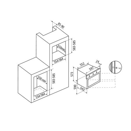Dessin technique Four multifonction pyrolyse <br> 963 € PPI HT* - AFIP16BKN - Airlux