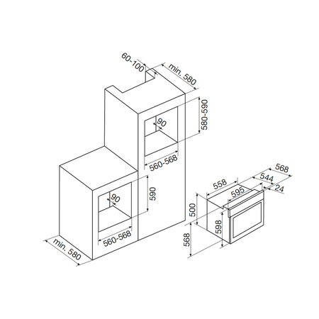 Dessin technique Four multifonction pyrolyse <br> 692 € PPI HT* - AFSP13WHN - Airlux