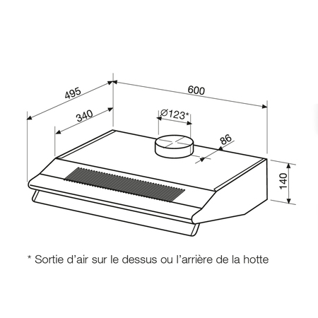 Dessin technique Hotte casquette 60 cm <br> 108 € PPI HT* - AHC63BK - Airlux