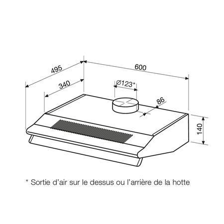 Dessin technique Hotte casquette 60 cm <br> 150 € PPI HT* - AHC65BK - Airlux