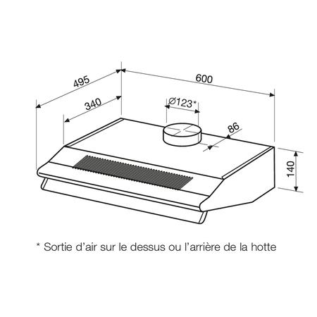 Dessin technique Blanche - AHC65WH - Airlux