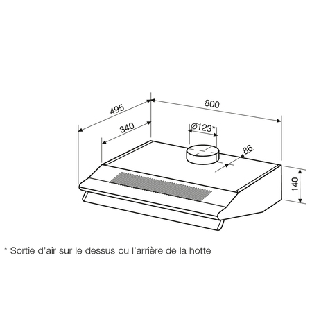 Dessin technique Hotte casquette 80 cm <br> 200 € PPI HT* - AHC85IX - Airlux