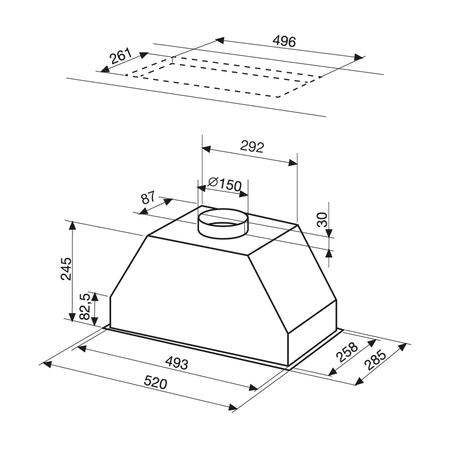 Dessin technique Groupe filtrant 52 cm <br> 249 € PPI HT* - AHF58BK - Airlux
