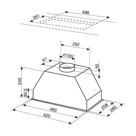 Dessin technique Groupe filtrant 52 cm <br> 275 € PPI HT* - AHF58IX - Airlux