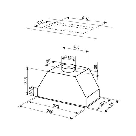 Dessin technique Groupe filtrant 70 cm <br> 333 € PPI HT* - AHF78IX - Airlux