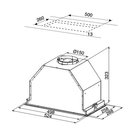 Dessin technique Groupe filtrant 52 cm <br> 458 € PPI HT* - AHG570IX - Airlux