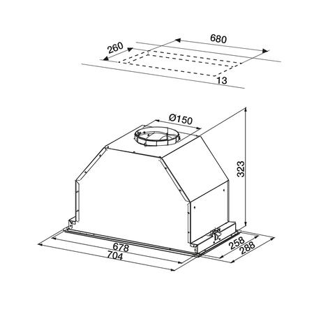 Dessin technique Groupe filtrant 70 cm <br> 500 € PPI HT* - AHG770IX - Airlux