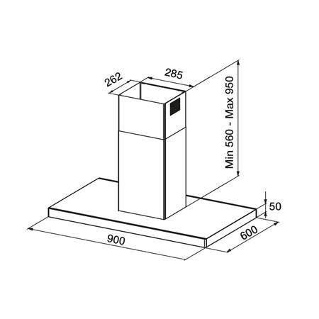 Dessin technique Hotte îlot box fine 90 cm <br> 799 € PPI HT* - AHIBF970IX - Airlux