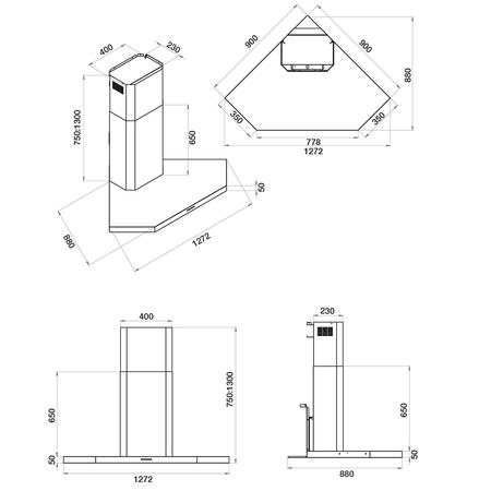 Dessin technique Hotte d'angle 127,2 cm <br> 899 € PPI HT* - AHK128IX - Airlux