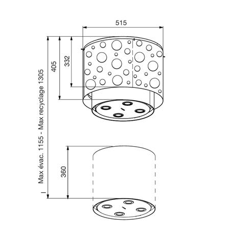 Dessin technique Hotte lampe télescopique Ø 51,5 cm <br> 1917 € PPI HT* - AHL55IX - Airlux