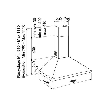 Dessin technique Blanche - AHP670WH - Airlux