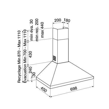 Dessin technique Hotte pyramide 70 cm <br> 258 € PPI HT* - AHP770IX - Airlux