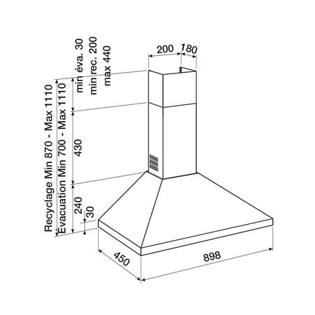 Dessin technique Noire - AHP970BK - Airlux