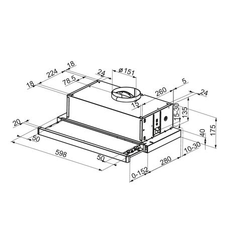 Dessin technique Hotte tiroir 60 cm <br> 208 € PPI HT* - AHT63BK - Airlux