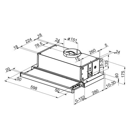 Dessin technique Hotte tiroir 60 cm <br> 208 € PPI HT* - AHT63WH - Airlux