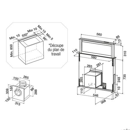 Dessin technique Hotte plan de travail télescopique 60 cm <br> 1667 € PPI HT* - AHV680BK - Airlux