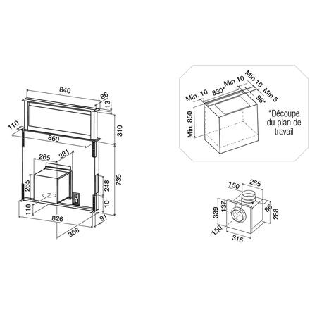 Dessin technique Hotte plan de travail télescopique 90 cm <br> 1799 € PPI HT* - AHV980BK - Airlux