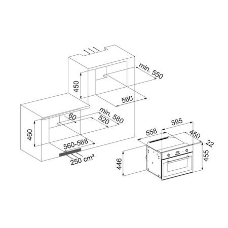 Dessin technique Micro-ondes gril - AM46BK - Airlux