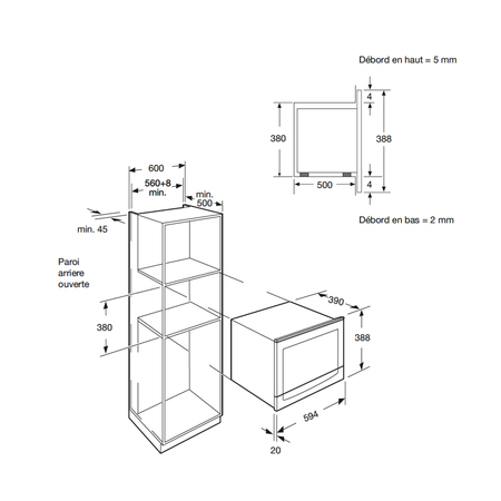 Dessin technique Micro-ondes gril intégrable <br> 417 € PPI HT* - AMI253IX - Airlux