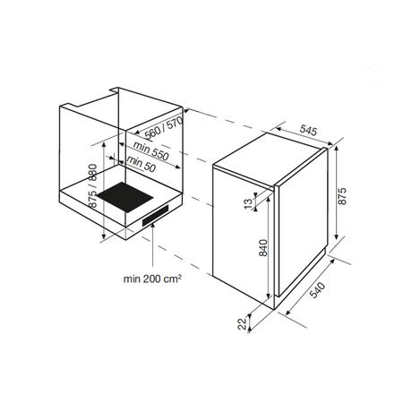 Dessin technique Réfrigérateur 1 porte niche 88 cm <br> 525 € PPI HT* - ARI13A - Airlux