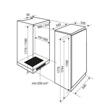 Dessin technique Réfrigérateur 1 porte niche 177,5 cm <br> 800 € PPI HT* - ARI32MA - Airlux