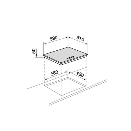 Dessin technique Table inox gaz 3 foyers 60 cm <br> 320 € PPI HT* - AT635HIX - Airlux