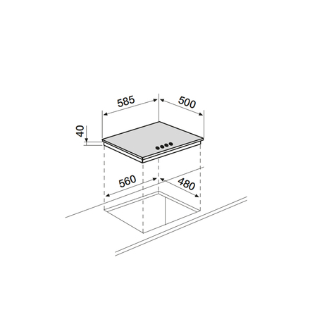 Dessin technique Table inox gaz 60 cm <br> 275 € PPI HT* - AT64IX - Airlux