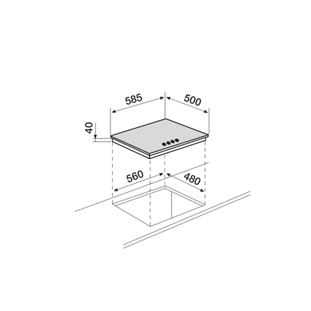 Dessin technique Table inox gaz 60 cm <br> 375 € PPI HT* - AT685HIX - Airlux