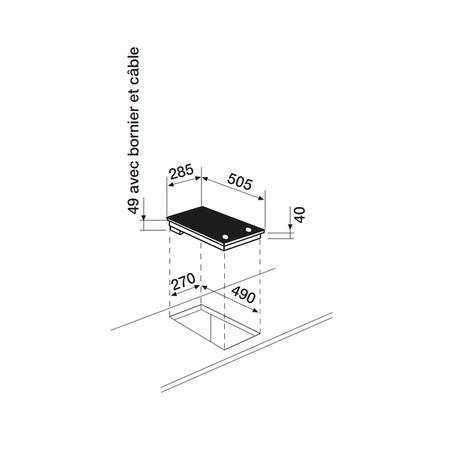 Dessin technique Domino vitrocéramique manette <br> 300 € PPI HT* - ATH320M - Airlux
