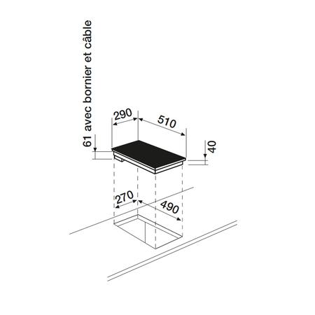 Dessin technique Domino vitrocéramique sensitif <br> 317 € PPI HT* - ATH320S - Airlux